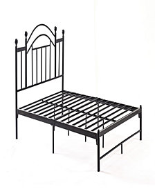 Complete Platform Queen-Size Bed with Headboard, Slats and Rails in Black