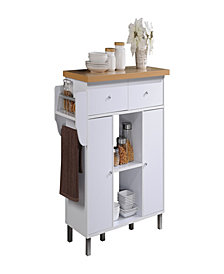Kitchen Island with Spice Rack plus Towel Holder in White