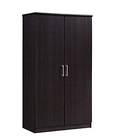 2-Door Armoire with 4-Shelves in Chocolate