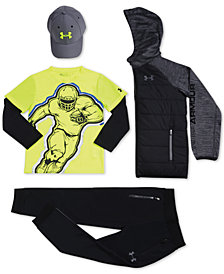 Under Armour Little Boys Blitzing Cap, Hooded Jacket, Layered-Look T-Shirt & Pennant 2.0 Pants