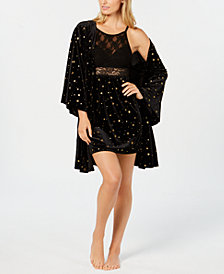 I.N.C. Star-Print Velvet Robe, Created for Macy's