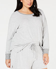 Alfani Plus Size Brushed Hacci Knit Striped Pajama Top, Created for Macy's