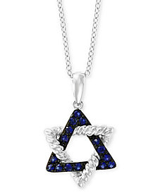 "EFFY® Sapphire Star of David 18"" Pendant Necklace (1/5 ct. t.w.) in 14k White Gold"