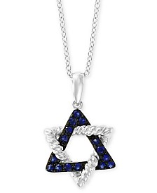 """EFFY® Sapphire Star of David 18"""" Pendant Necklace (1/5 ct. t.w.) in 14k White Gold"""