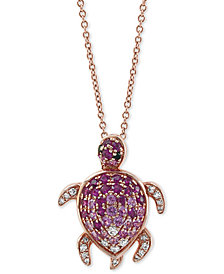 "EFFY® Multi-Gemstone (5/8 ct.t.w.) & Diamond (1/8 ct.t.w.) Turtle 18"" Pendant Necklace in 14k Rose Gold"
