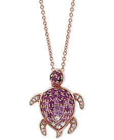 "EFFY® Multi-Gemstone (5/8 ct.t.w.) & Diamond (1/8 ct.t.w.) Turtle 18"" Pendant Necklace in 14k Rose Gold"