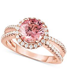 Arabella Swarovski Zirconia Split Shank Statement Ring in 18k Rose Gold-Plated Sterling Silver