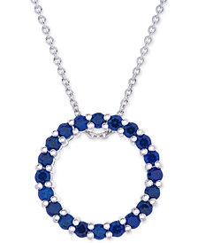 "Lab-Created Sapphire Circle 18"" Pendant Necklace (1 ct. t.w.) in Sterling Silver"