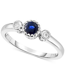 Sapphire (3/8 ct. t.w.) & Diamond Accent Ring in 14k White Gold