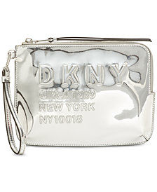 DKNY 10018 Large Metallic Logo Wristlet, Created for Macy's