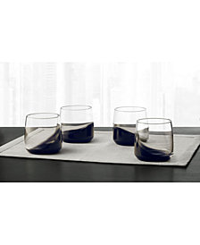 Hotel Collection Set of 4 Small Glasses with Black Ombre, Created for Macy's