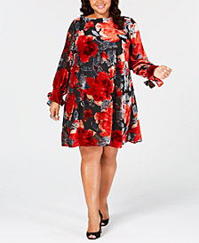 Taylor Plus Size Floral Flocked Velvet Shift Dress