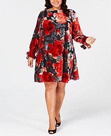 Taylor Plus Size Floral Flocked Velvet Shift Dress