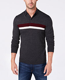 Club Room Men's Stripe Polo Sweater, Created for Macy's