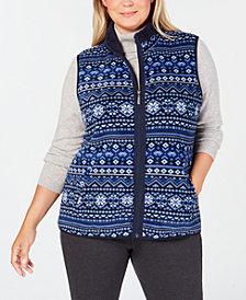Karen Scott Plus Size Fair-Isle Stand-Collar Vest, Created for Macy's