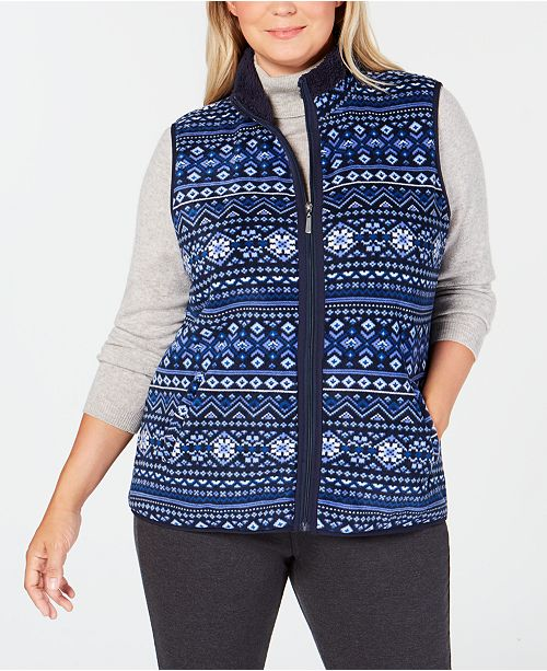 5b3549d82dd Karen Scott Plus Size Fair-Isle Stand-Collar Vest