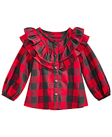 First Impressions Baby Girls Ruffled Plaid Cotton Shirt, Created for Macy's
