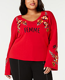 I.N.C. Plus Size Embroidered Bell-Sleeve Sweater, Created for Macy's