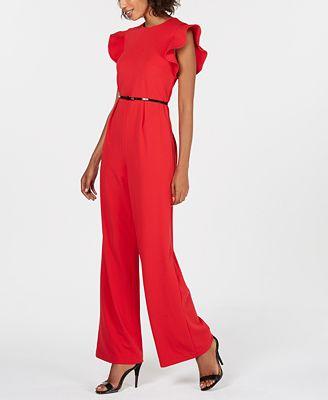 Calvin Klein Belted Ruffle Sleeve Jumpsuit Pants Women Macys
