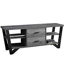 """60""""L Tv Stand with 2 Storage Drawers in Grey-Black"""