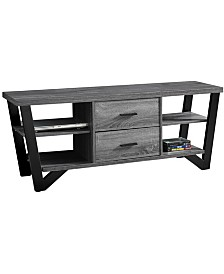 """Monarch Specialties 60""""L Tv Stand with 2 Storage Drawers in Grey-Black"""