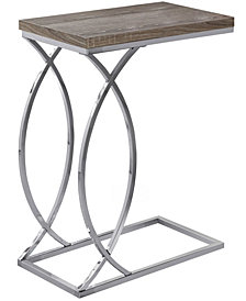 Monarch Specialties Chrome Metal Edgeside Accent Table in Dark Taupe