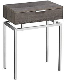 "Chrome Metal 24""H Side Accent Table in Dark Taupe"