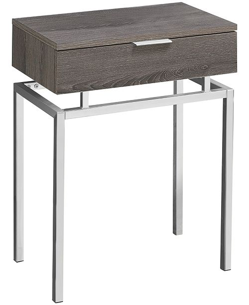 """Monarch Specialties Chrome Metal 24""""H Side Accent Table in Dark Taupe"""