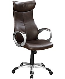Leather Finish Office High Back Chair in  Brown