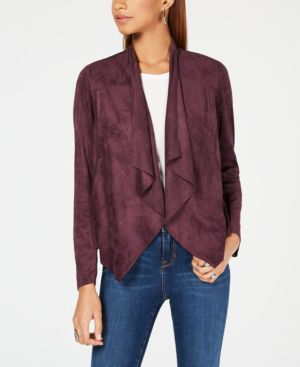 KUT FROM THE KLOTH Tayanita Faux Suede Jacket in Burgundy