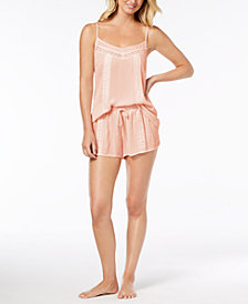 Linea Donatella Day Dream Lace-Trim Pajama Short Set