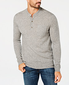 Tasso Elba Men's Cashmere Henley Sweater, Created for Macy's