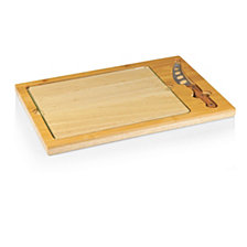 Picnic Time Icon Glass Top Cutting Board & Knife Set