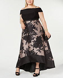 Morgan & Company Trendy Plus Size Off-The-Shoulder High-Low Gown