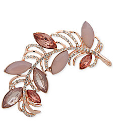 Anne Klein Rose Gold-Tone Pavé & Stone Feather Pin, Created for Macy's