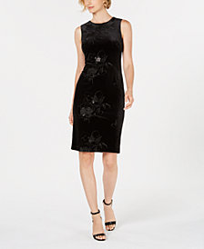 Calvin Klein Embellished Burnout-Velvet Sheath Dress