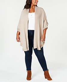 Joseph A Plus Size Ruffled Open-Front Cardigan
