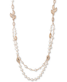 "Anne Klein Gold-Tone Pavé & Imitation Pearl 36"" Strand Necklace"