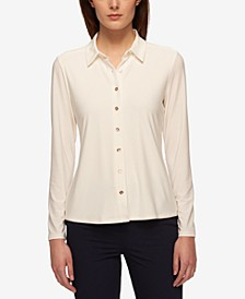 Point-Collar Blouse
