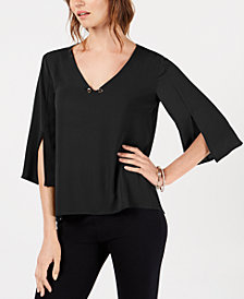 NY Collection Petite Toggle-Neck Split-Sleeve Top