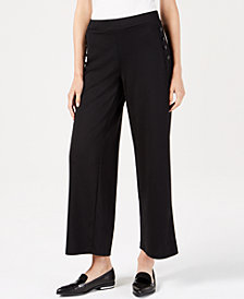 John Paul Richard Petite Button-Trim Wide-Leg Pants