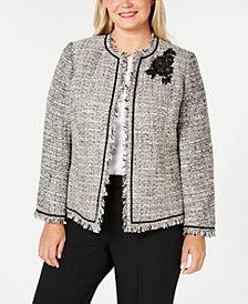 Kasper Plus Size Embellished Tweed Blazer
