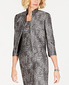Kasper Metallic Jacquard Open Jacket