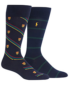 Polo Ralph Lauren Men's 2-Pk. Heraldic Club Striped Dress Socks