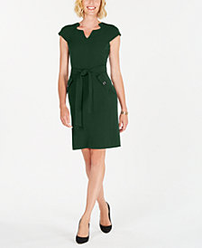 Kasper Cap-Sleeve Stretch-Crepe Belted Dress