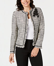 Kasper Open-Front Tweed Jacket