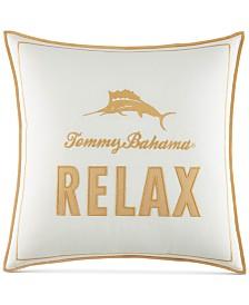 "Tommy Bahama Home Loredo Gardens Cotton Medium Orange 16"" Square Decorative Pillow"