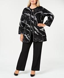 Kasper Plus Size Cardigan, Shell & Trousers
