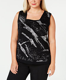 Kasper Plus Size Metallic Sweater Shell