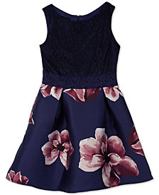 BCX Big Girls Plus Lace Floral Fit & Flare Dress